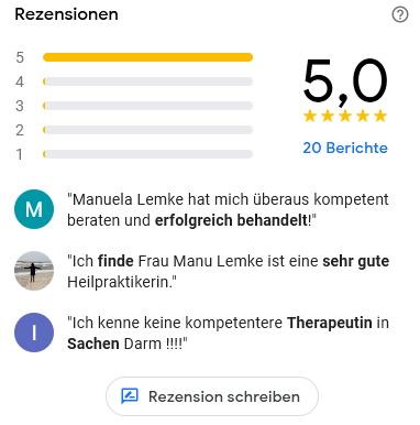 Bewertungen: Manu Lemke - Naturheilpraxis & Colon Hydro Therapie